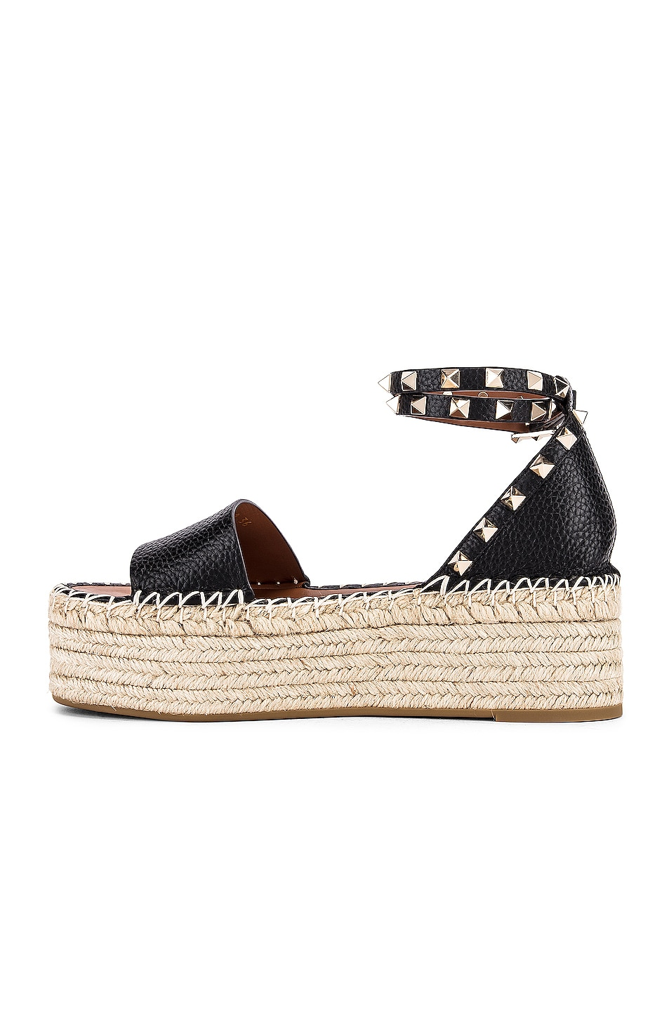 Image 5 of Valentino Rockstud Double Platform Wedges in Black & Natural