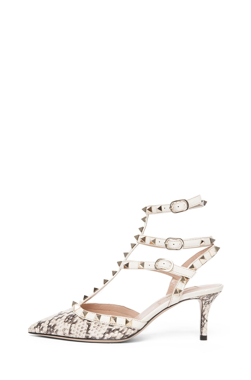 Image 1 of Valentino Rockstud Elaphe Snakeskin & Leather Printed Snake Sling Back T.65 in Light Ivory