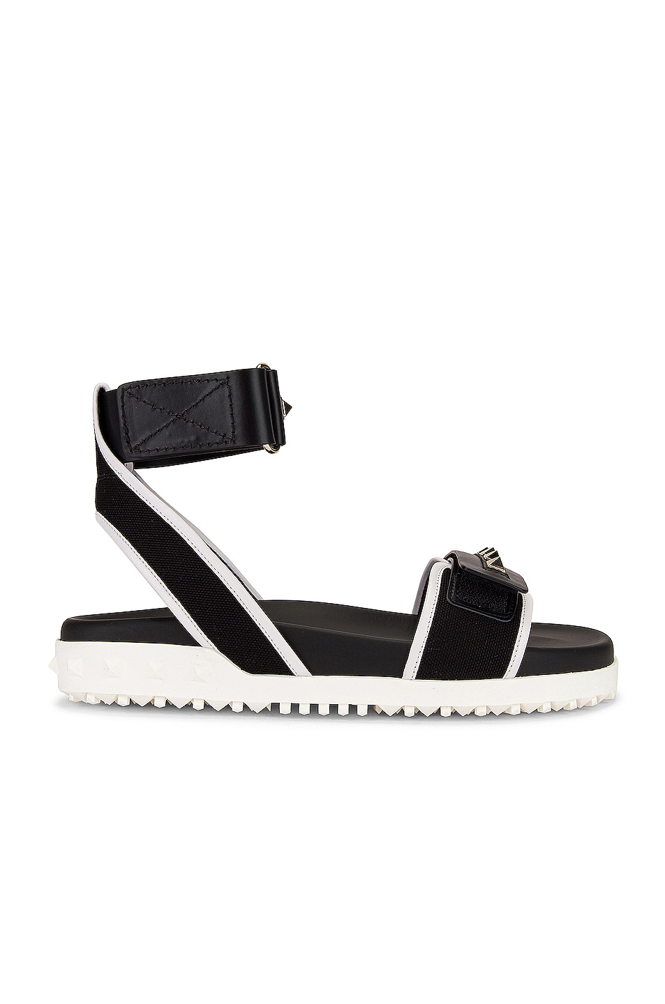 Image 1 of Valentino Rockstud Rubber Sandals in Black & Bianco Ottico