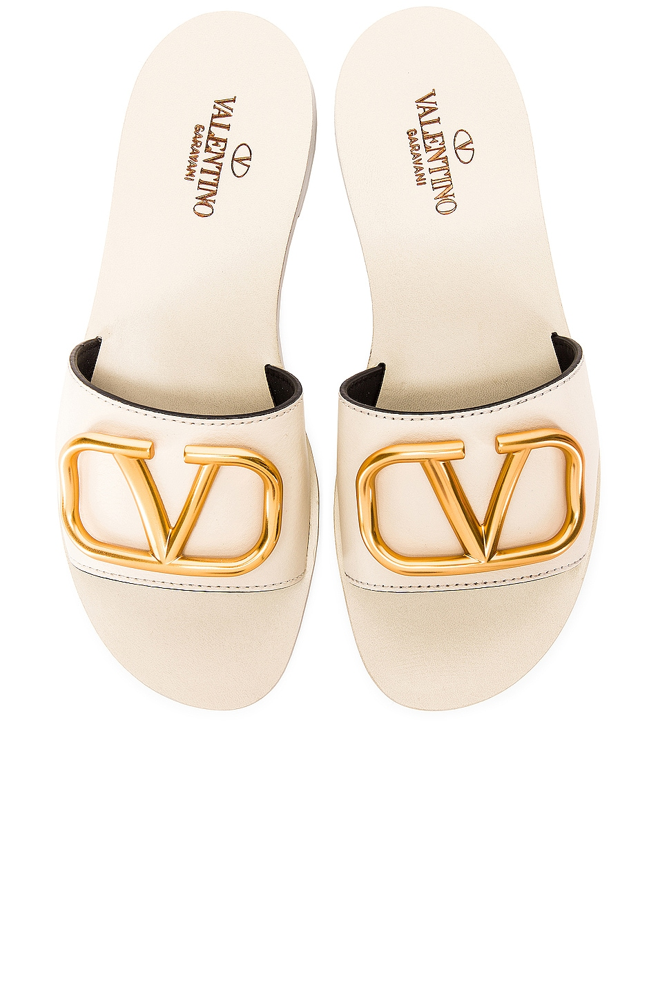 Image 1 of Valentino Garavani Vlogo Slides in Light Ivory