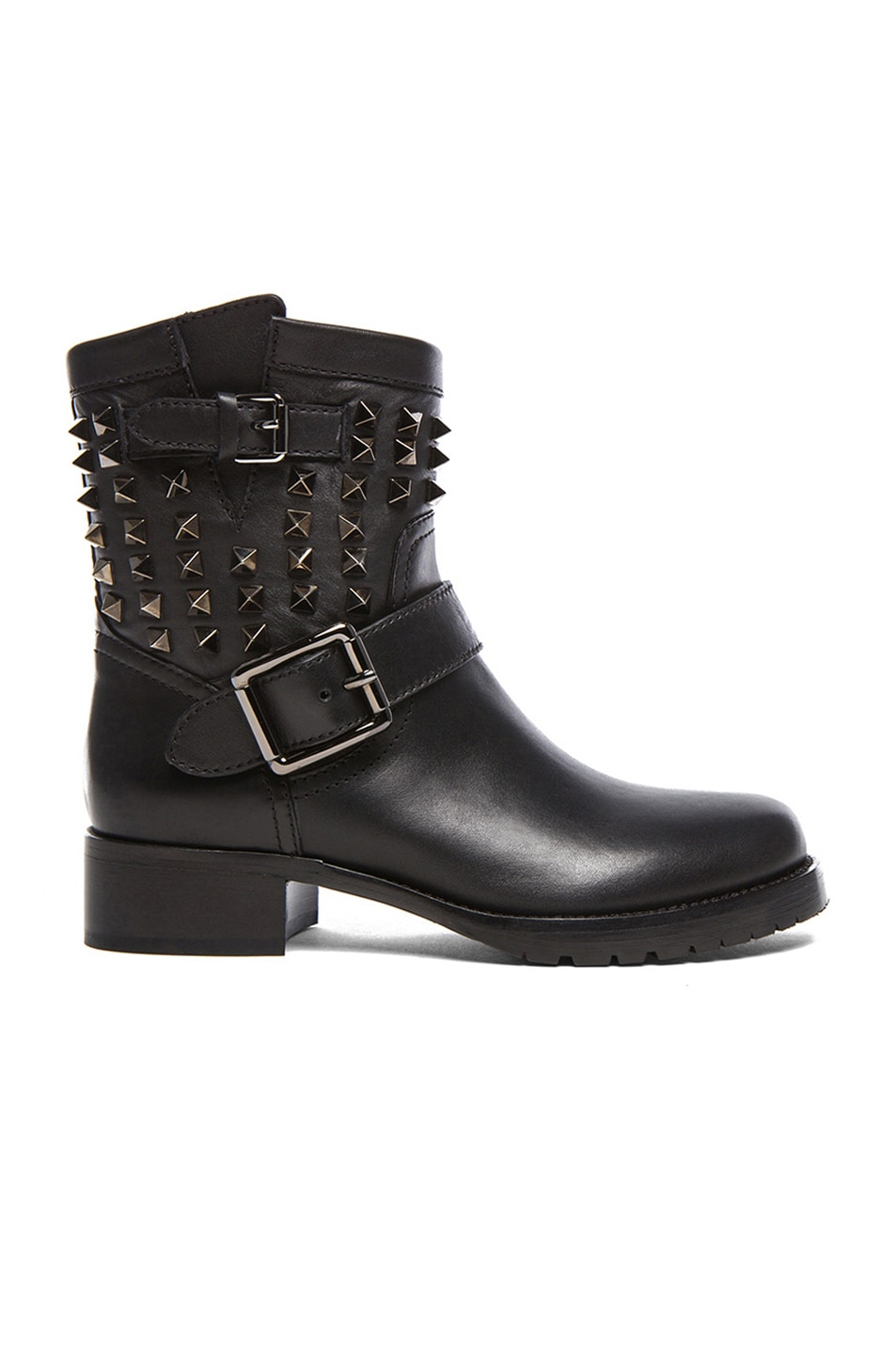 Image 1 of Valentino Rockstud Noir Leather Biker Boots T.30 in Black