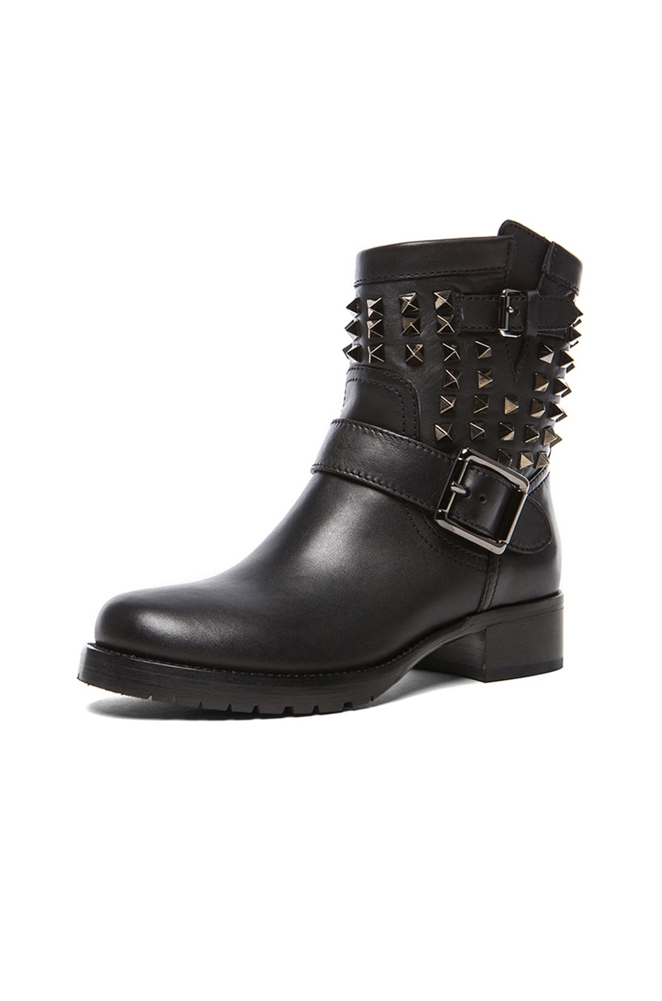 Image 2 of Valentino Rockstud Noir Leather Biker Boots T.30 in Black