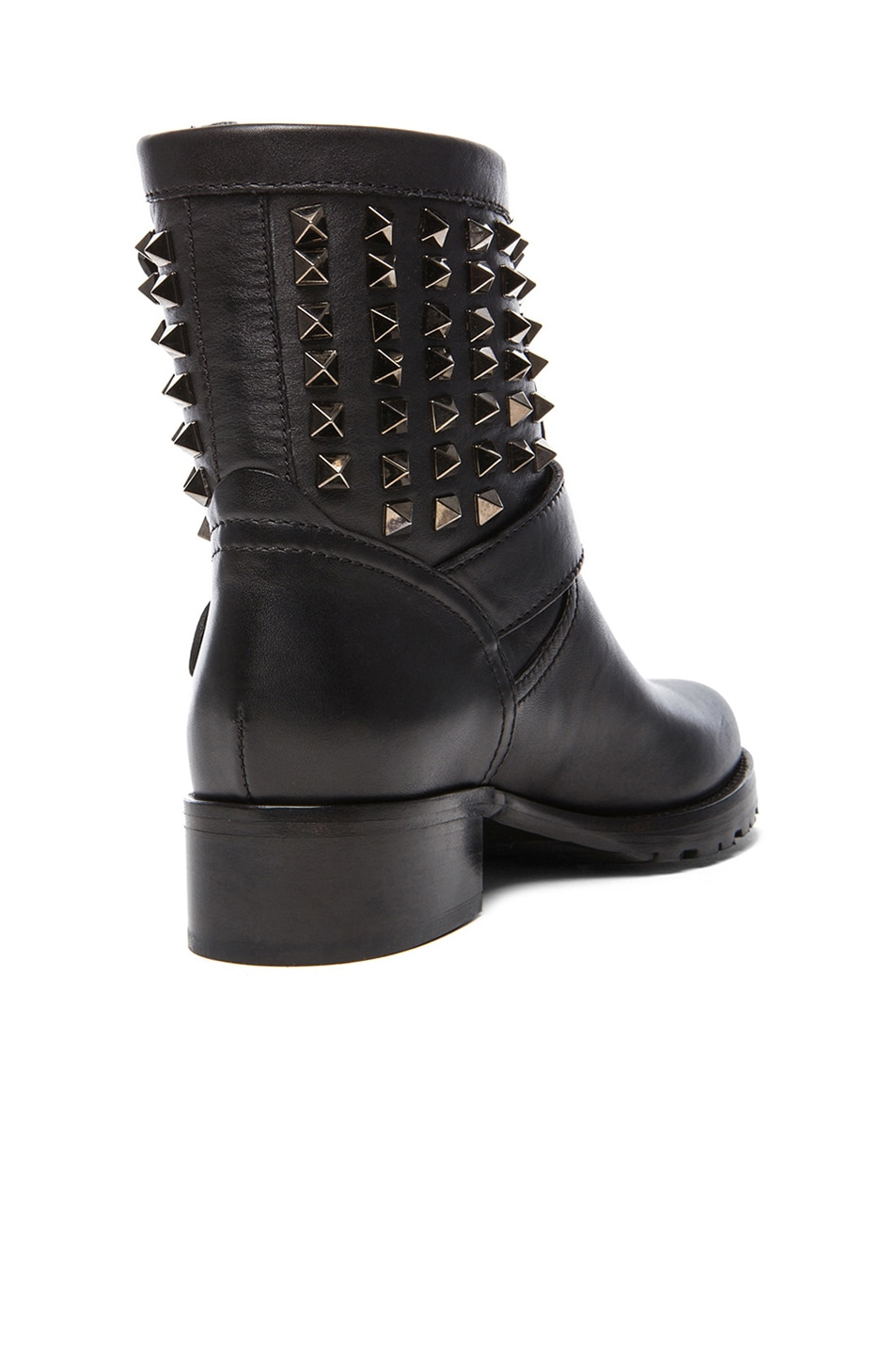 Image 3 of Valentino Rockstud Noir Leather Biker Boots T.30 in Black