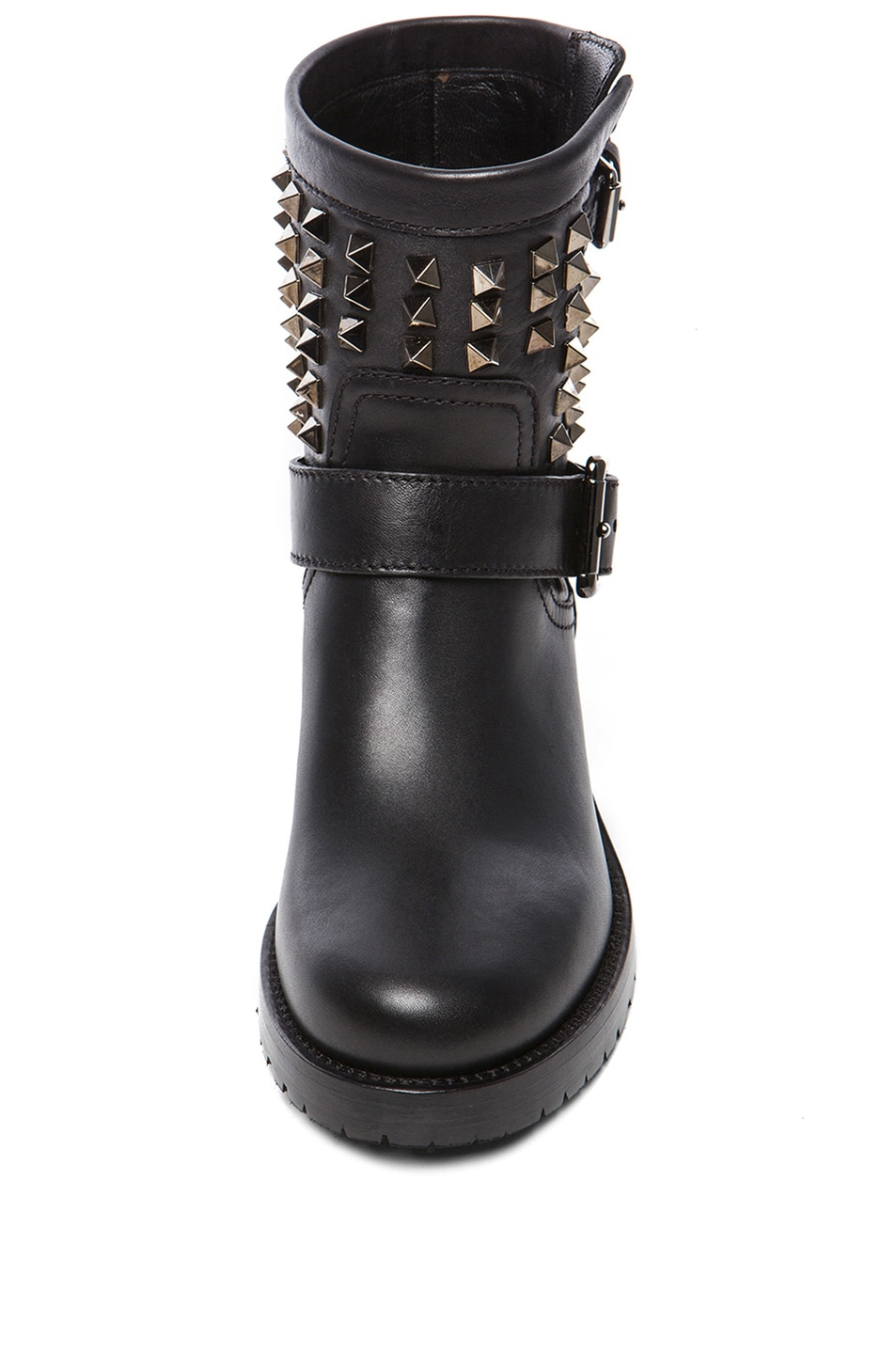Image 4 of Valentino Rockstud Noir Leather Biker Boots T.30 in Black
