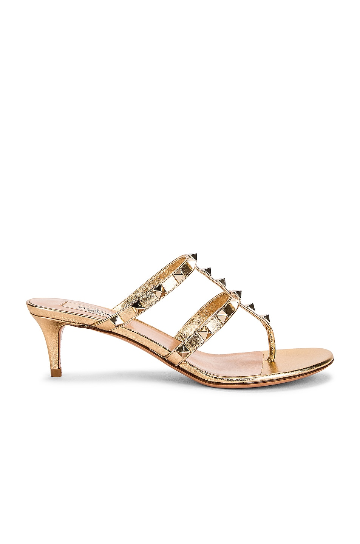 Image 1 of Valentino Garavani Rockstud Thong Sandals in Star Gold