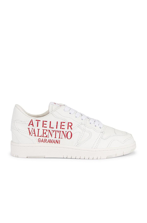 Image 1 of Valentino Garavani Atelier Sneakers in Bianco & Rosso V