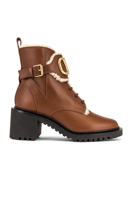 Image 1 of Valentino Garavani VLogo Signature Combat Boots in Chocolate Brown & Miele