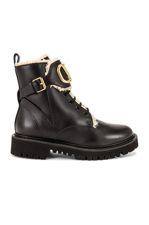 Image 1 of Valentino Garavani VLogo Signature Combat Boots in Nero & Miele