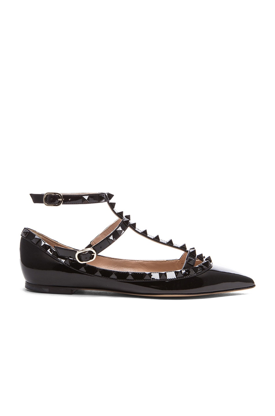 valentino rockstud punkouture patent ballerina flats in black fwrd. Black Bedroom Furniture Sets. Home Design Ideas
