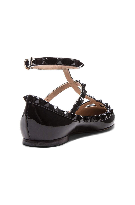 Image 3 of Valentino Rockstud Punkouture Patent Ballerina Flats in Black