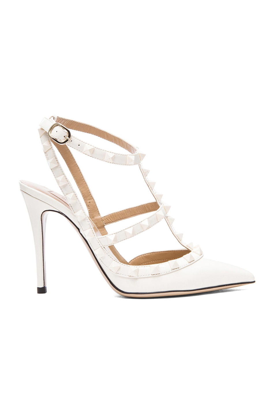 Image 1 of Valentino Rockstud Punkouture Patent Slingbacks T.100 in Light Ivory