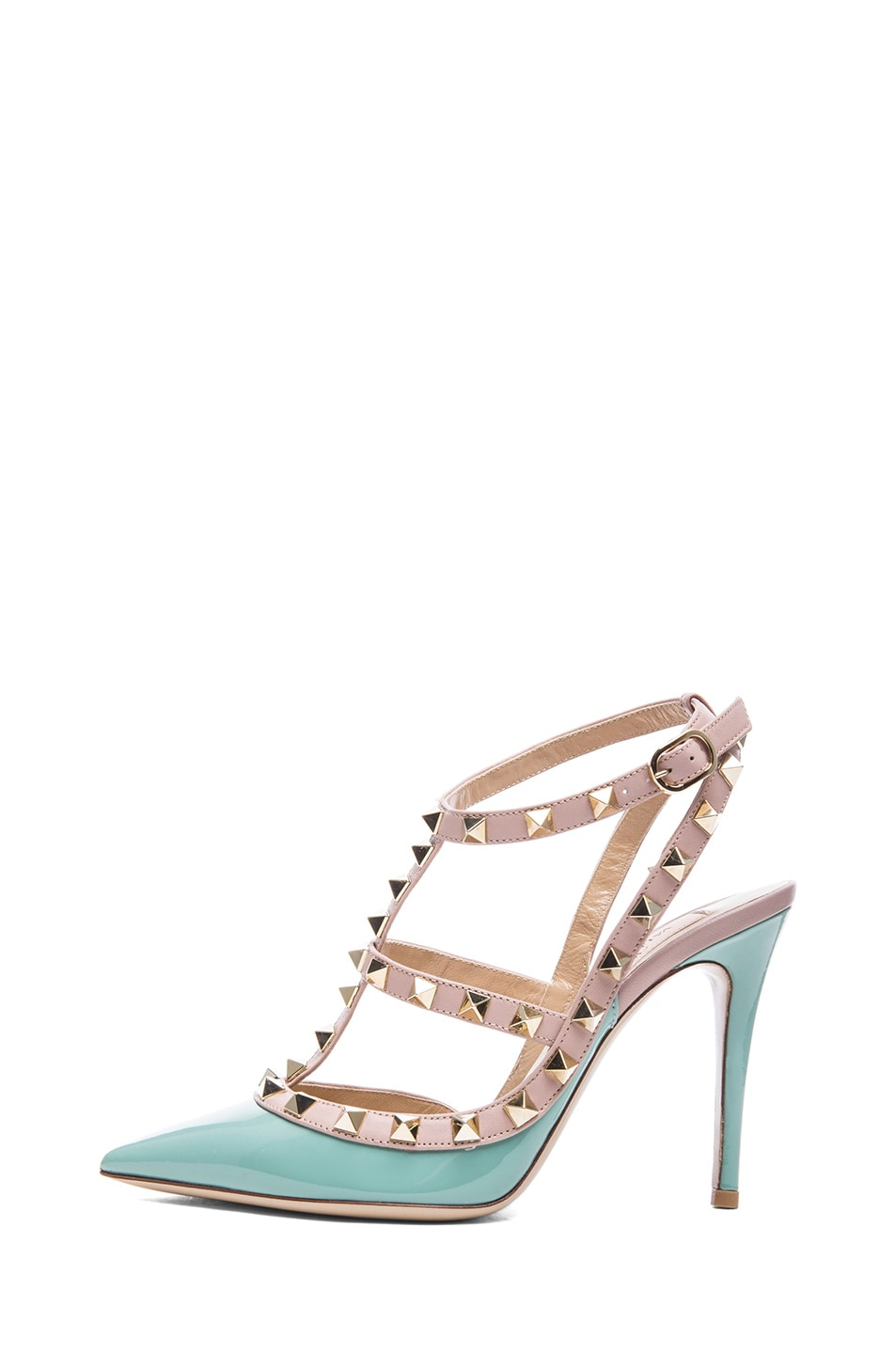 Image 1 of Valentino Rockstud Patent Leather Slingback T.100 in Dusty Sky