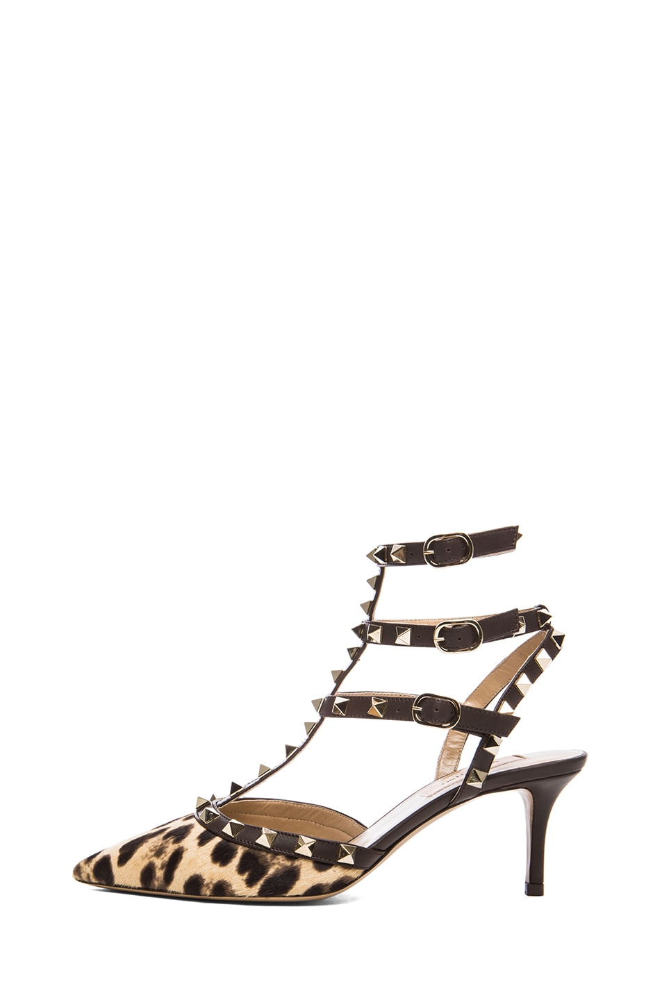 Image 1 of Valentino Rockstud Leather & Calf Hair Slingbacks T.65 in Leopard