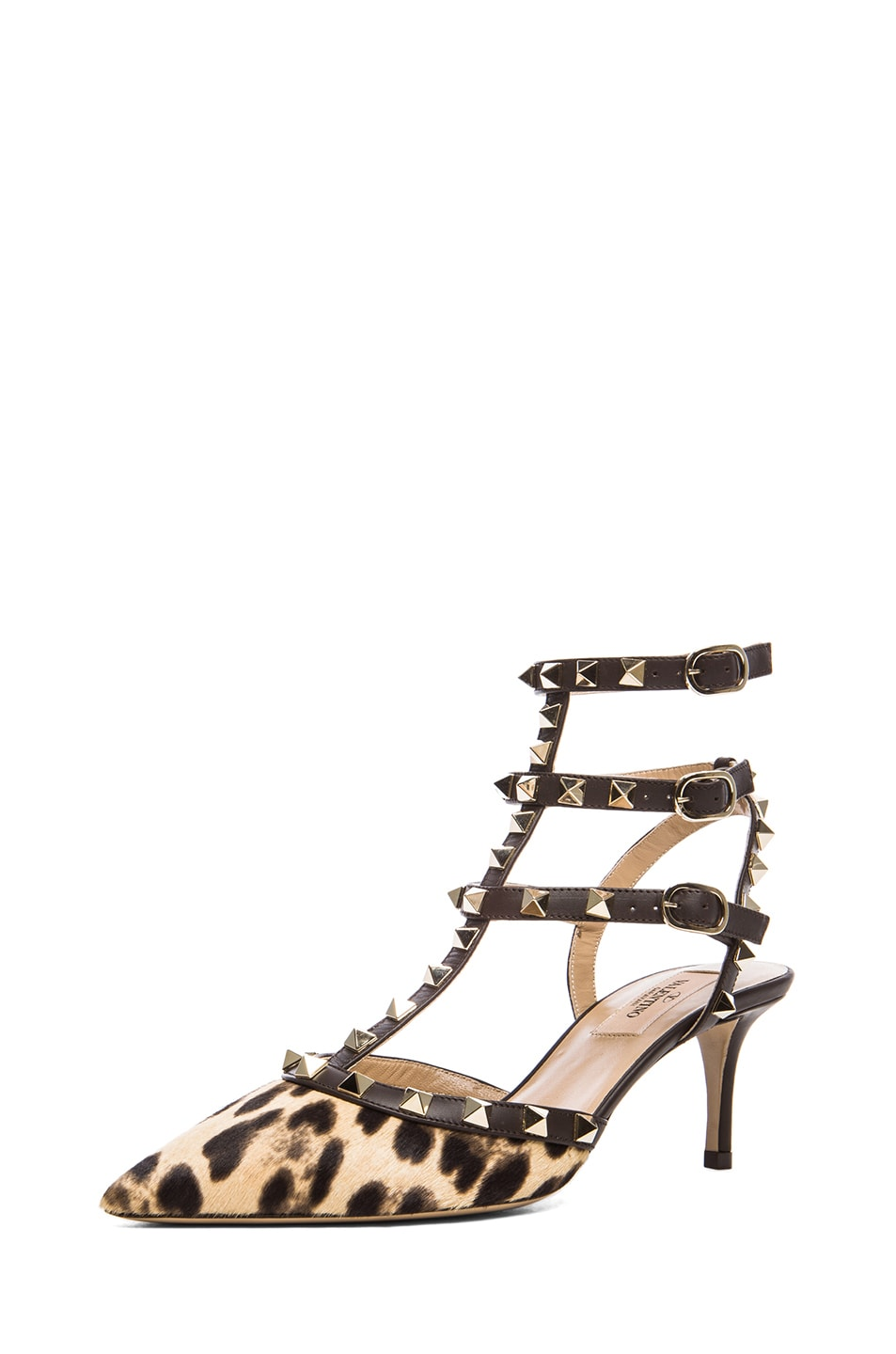 Image 2 of Valentino Rockstud Leather & Calf Hair Slingbacks T.65 in Leopard