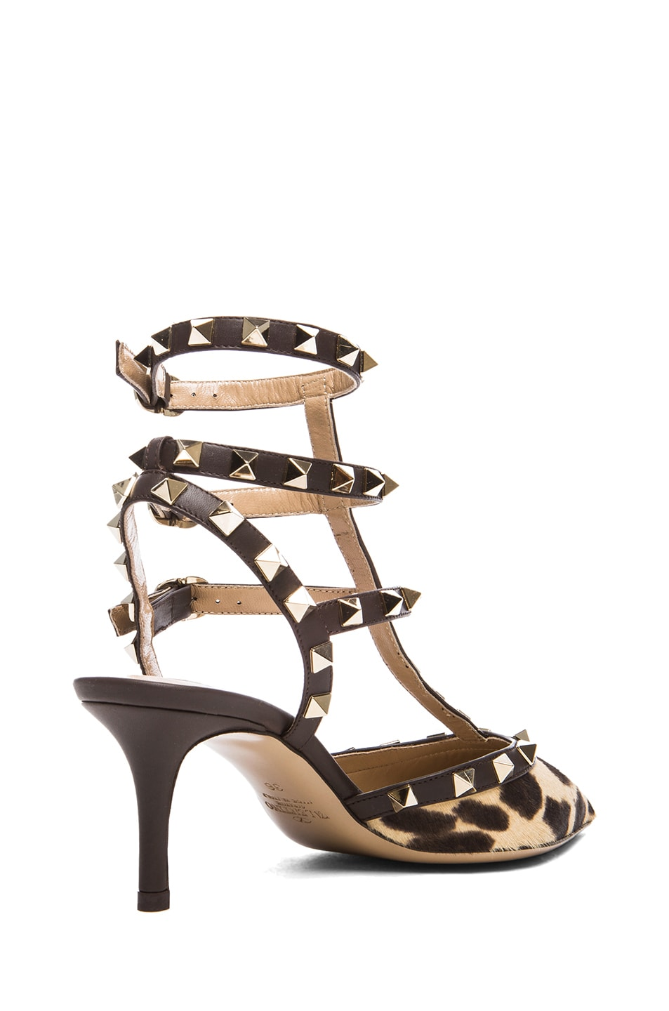 Image 3 of Valentino Rockstud Leather & Calf Hair Slingbacks T.65 in Leopard