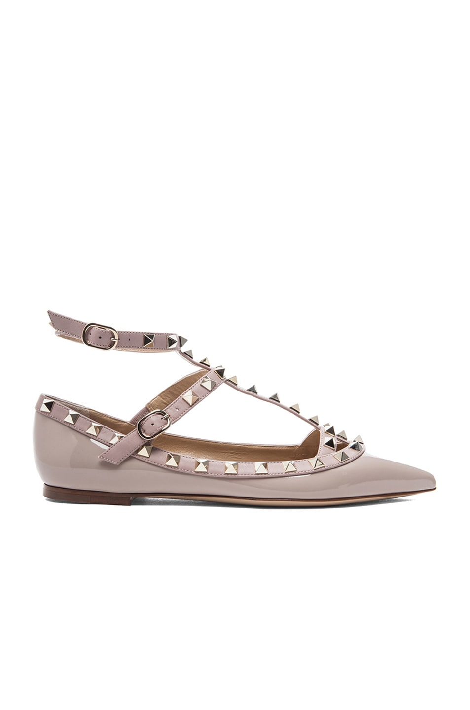 Image 1 of Valentino Rockstud Patent Cage Flats in Poudre
