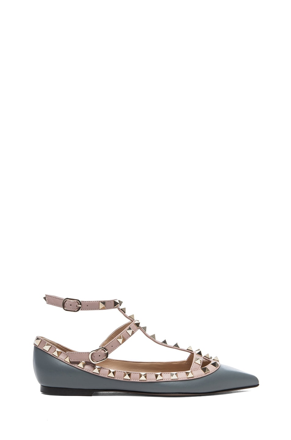 Image 1 of Valentino Rockstud Leather Ballerina Flats in Stone