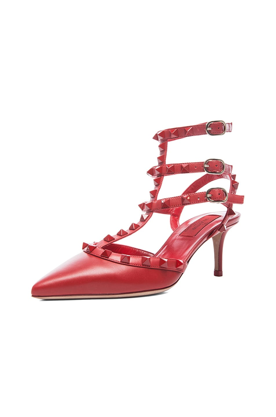 Image 2 of Valentino Rouge Rockstud Leather Slingbacks T.65 in Rosso Red
