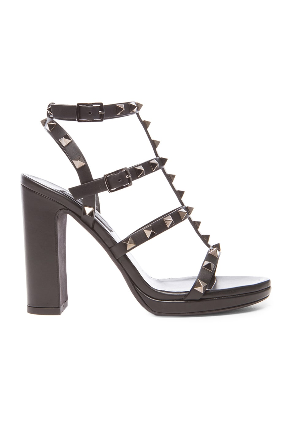 Image 1 of Valentino Noir Rockstud Leather Gladiator Heels T.95 in Ruthenium Black