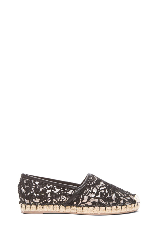 Image 1 of Valentino Glamorous Mesh & Crochet Knit Espadrilles in Black