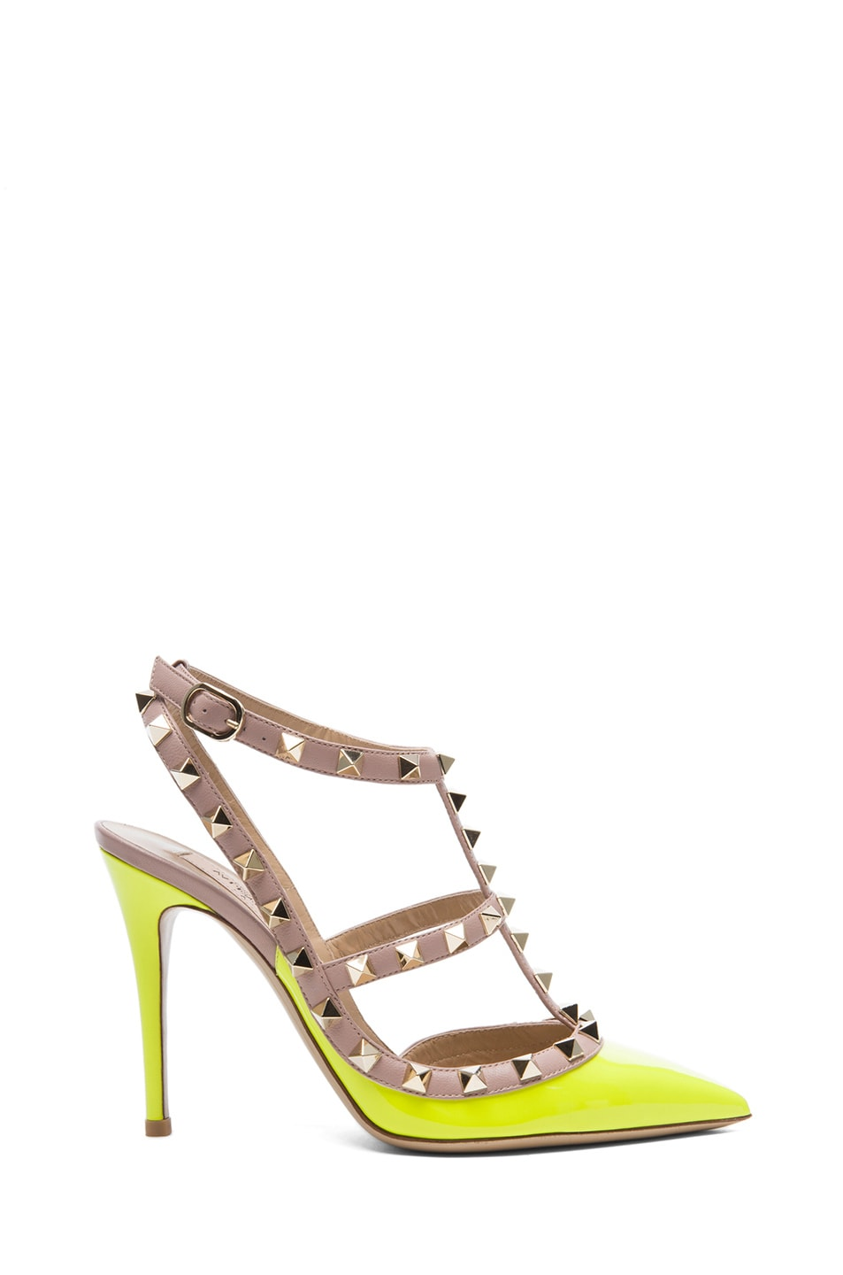 Image 1 of Valentino Rockstud Patent Slingbacks T.100 in Fluo Yellow