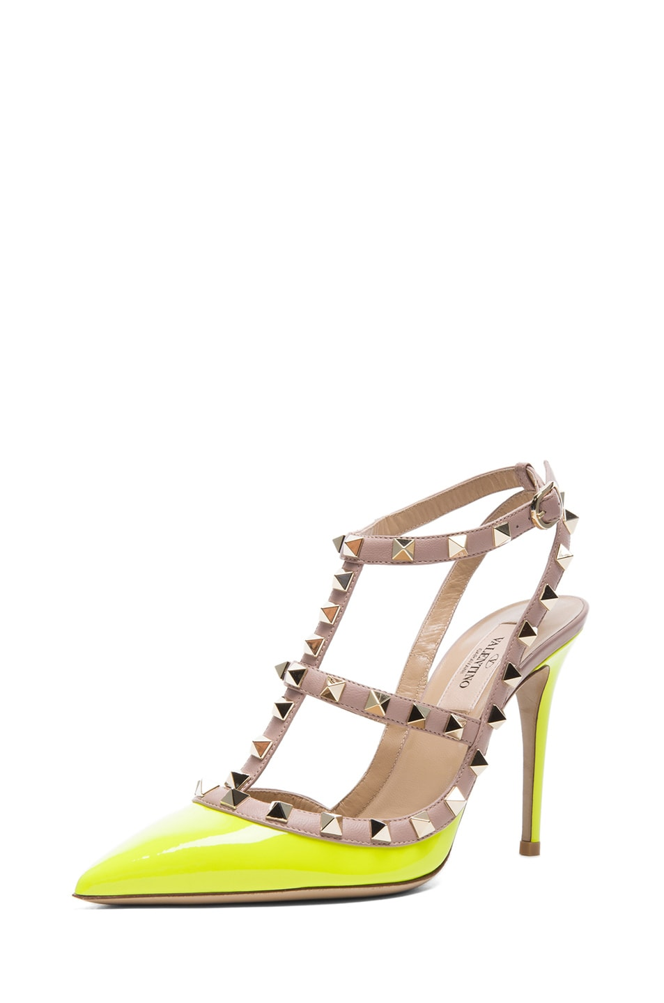 Image 2 of Valentino Rockstud Patent Slingbacks T.100 in Fluo Yellow