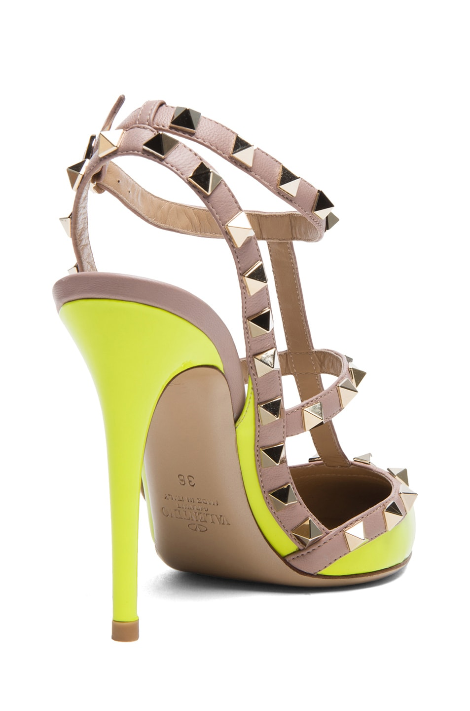 Image 3 of Valentino Rockstud Patent Slingbacks T.100 in Fluo Yellow