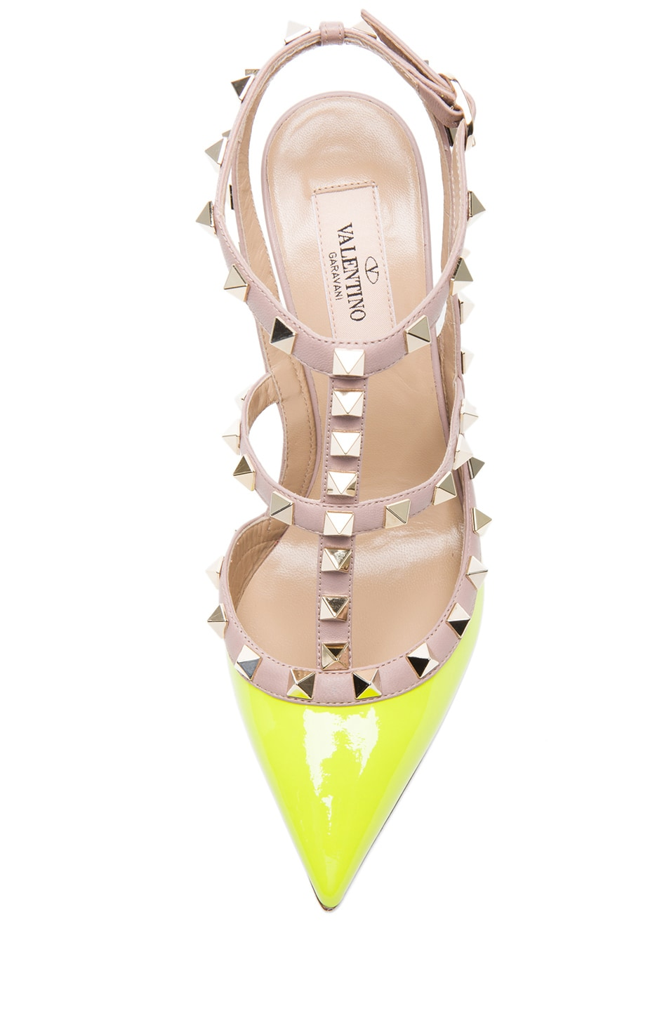 Image 4 of Valentino Rockstud Patent Slingbacks T.100 in Fluo Yellow