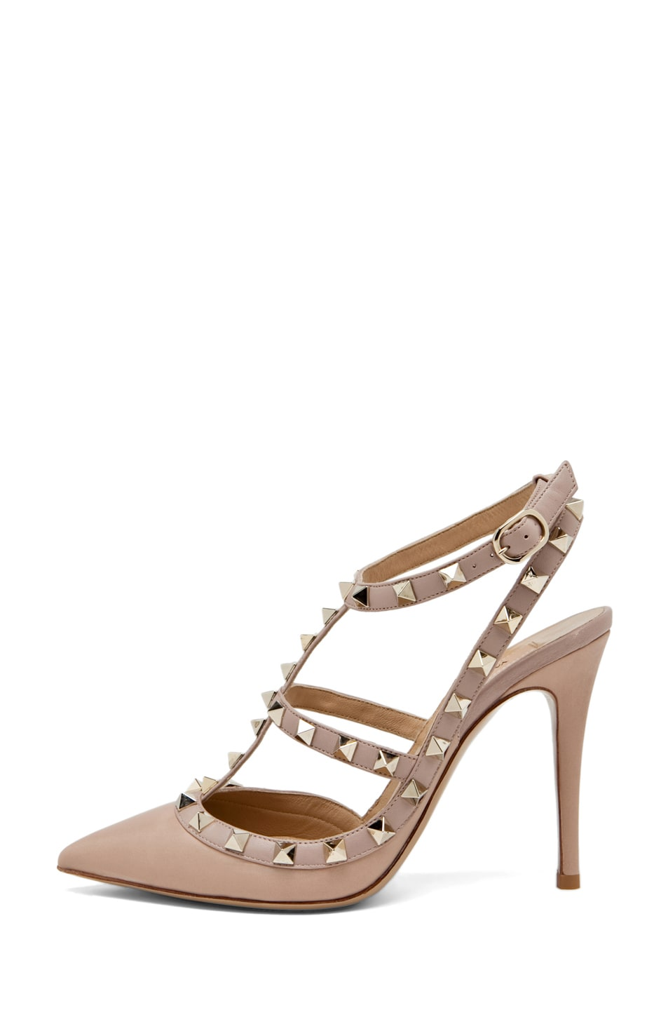 Image 1 of Valentino Rockstud Leather Slingbacks T.100 in Powder