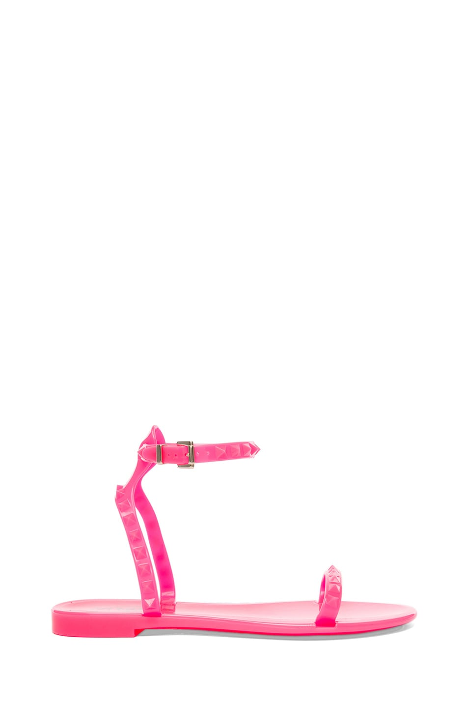 Image 1 of Valentino Rockstud PVC Jelly Sandals in Fluo Pink