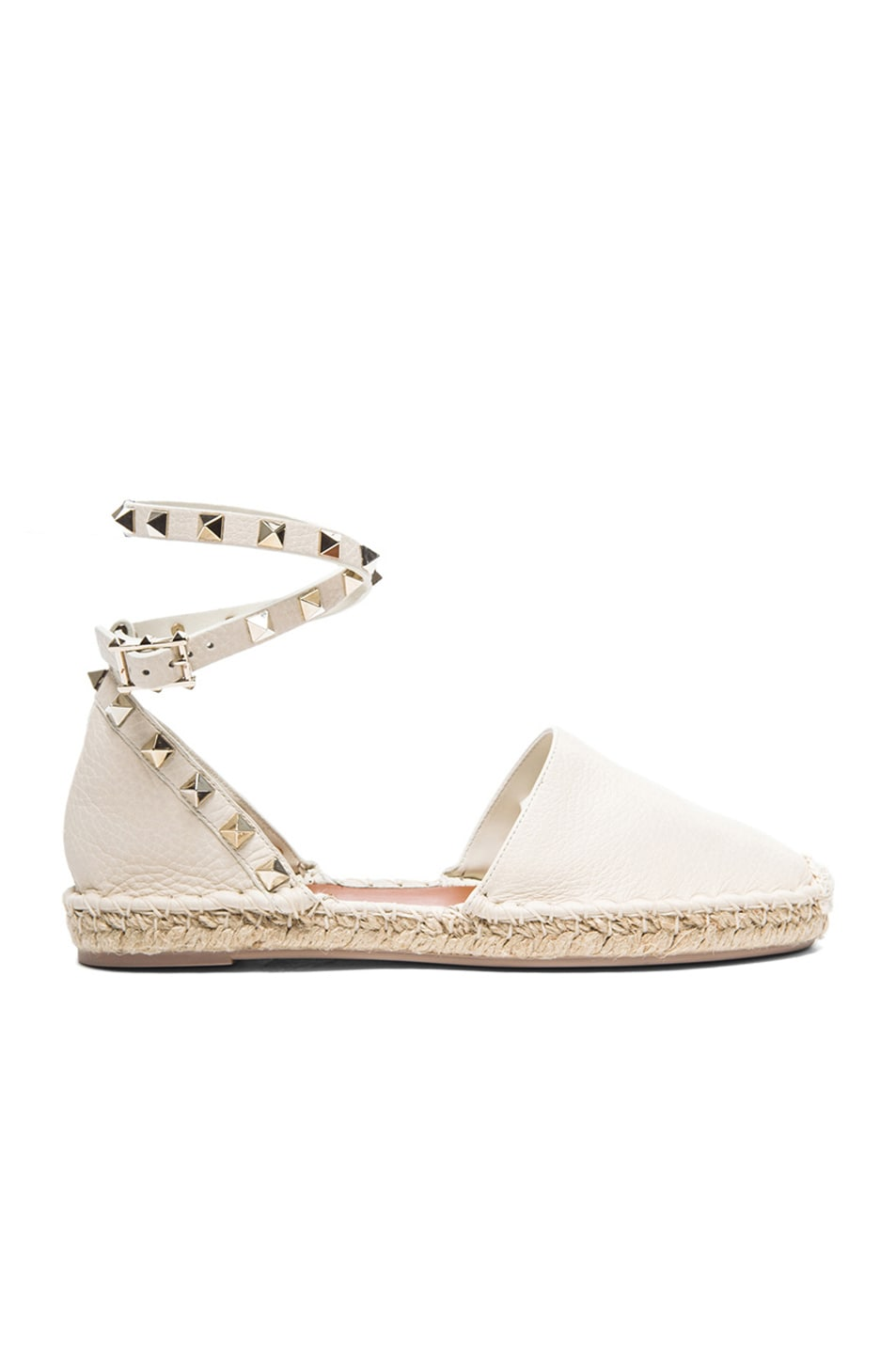 Image 1 of Valentino Studded Grained Leather Espadrilles in Light ivory