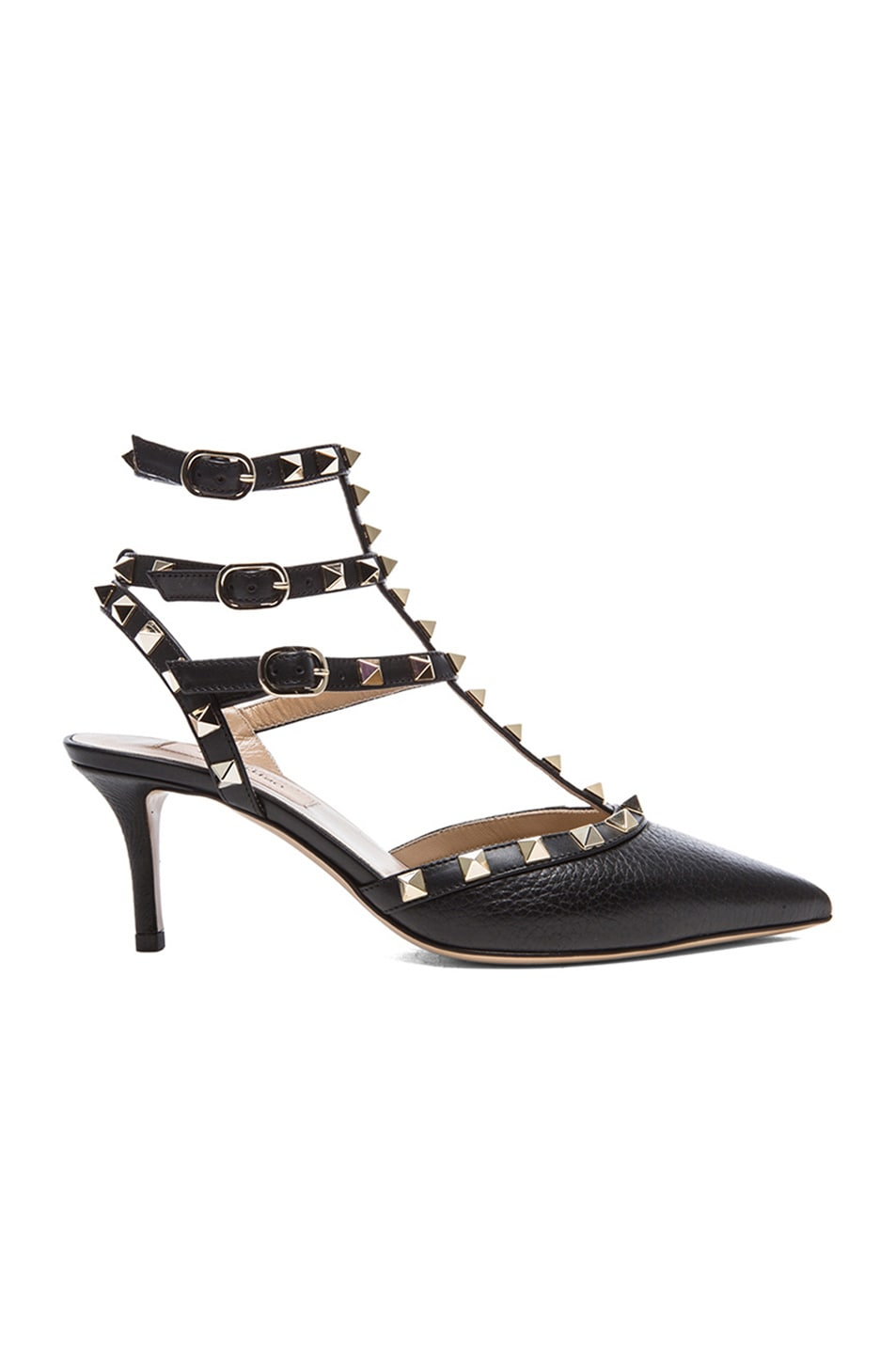 Image 1 of Valentino Rockstud Grained Leather Slingbacks T.65 in Black
