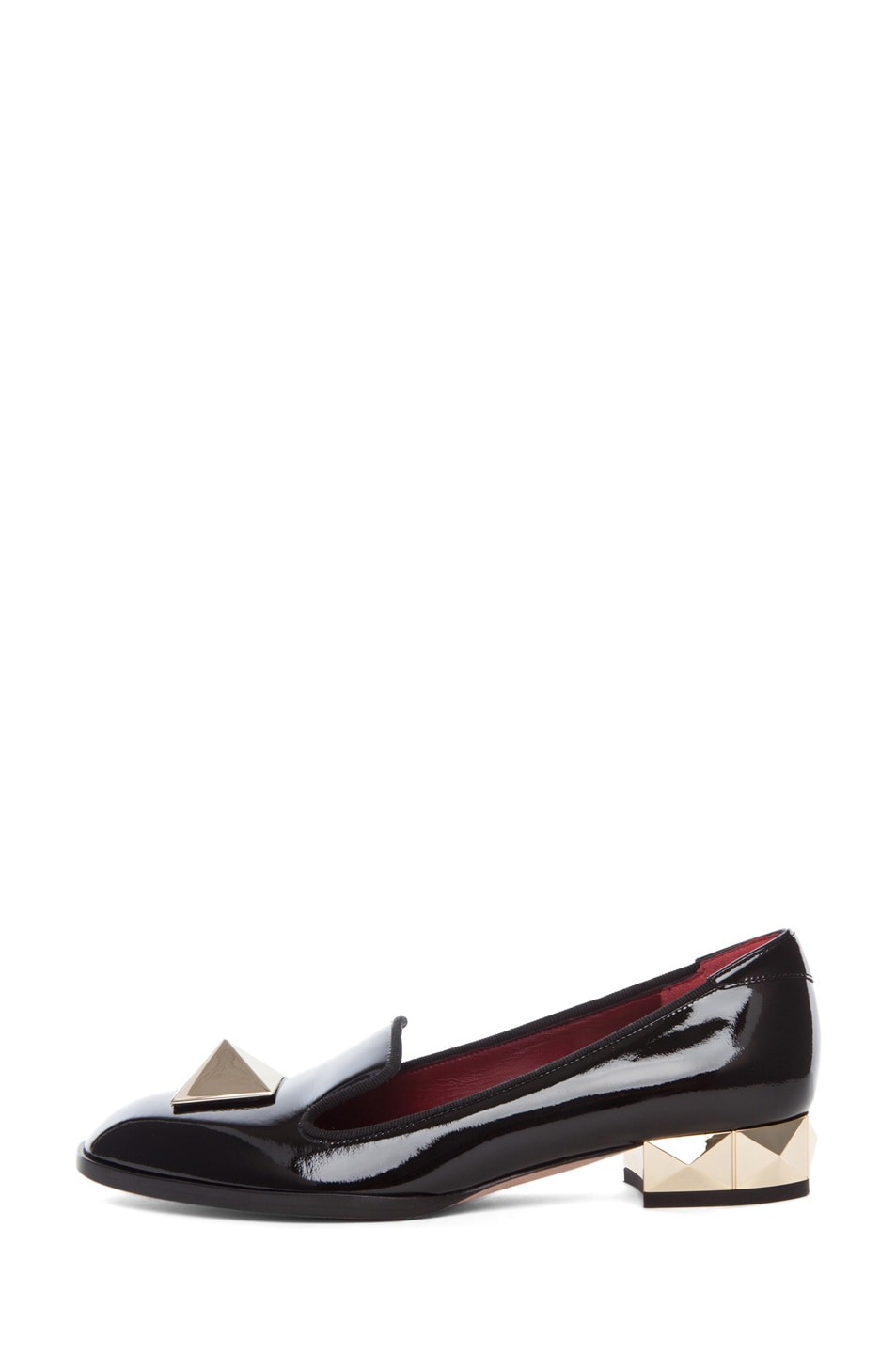 Image 1 of Valentino Platinum Metal Heel Loafer in Black
