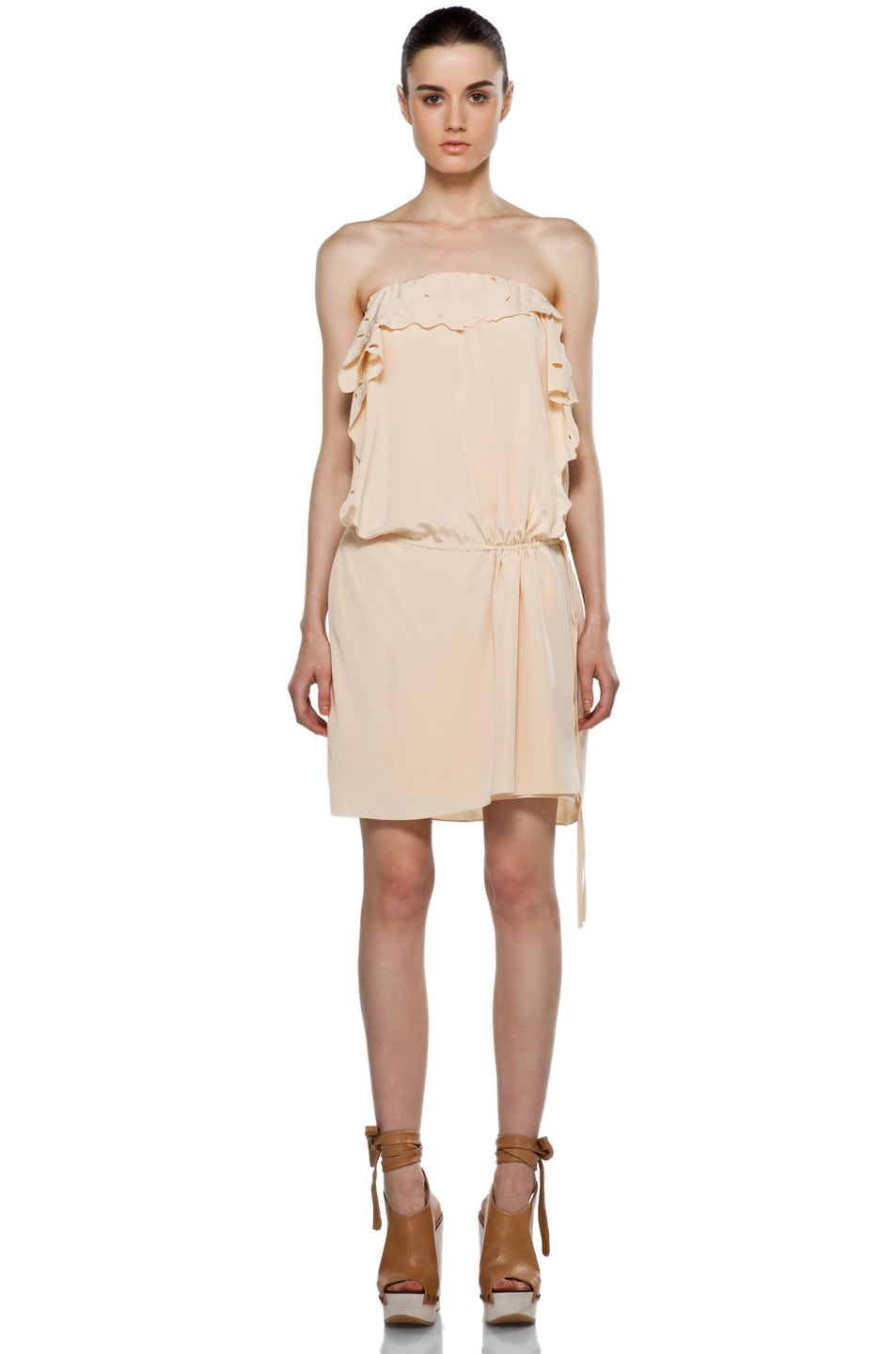 Image 1 of Vanessa Bruno Embroidered Wrap Mini Dress in Peche