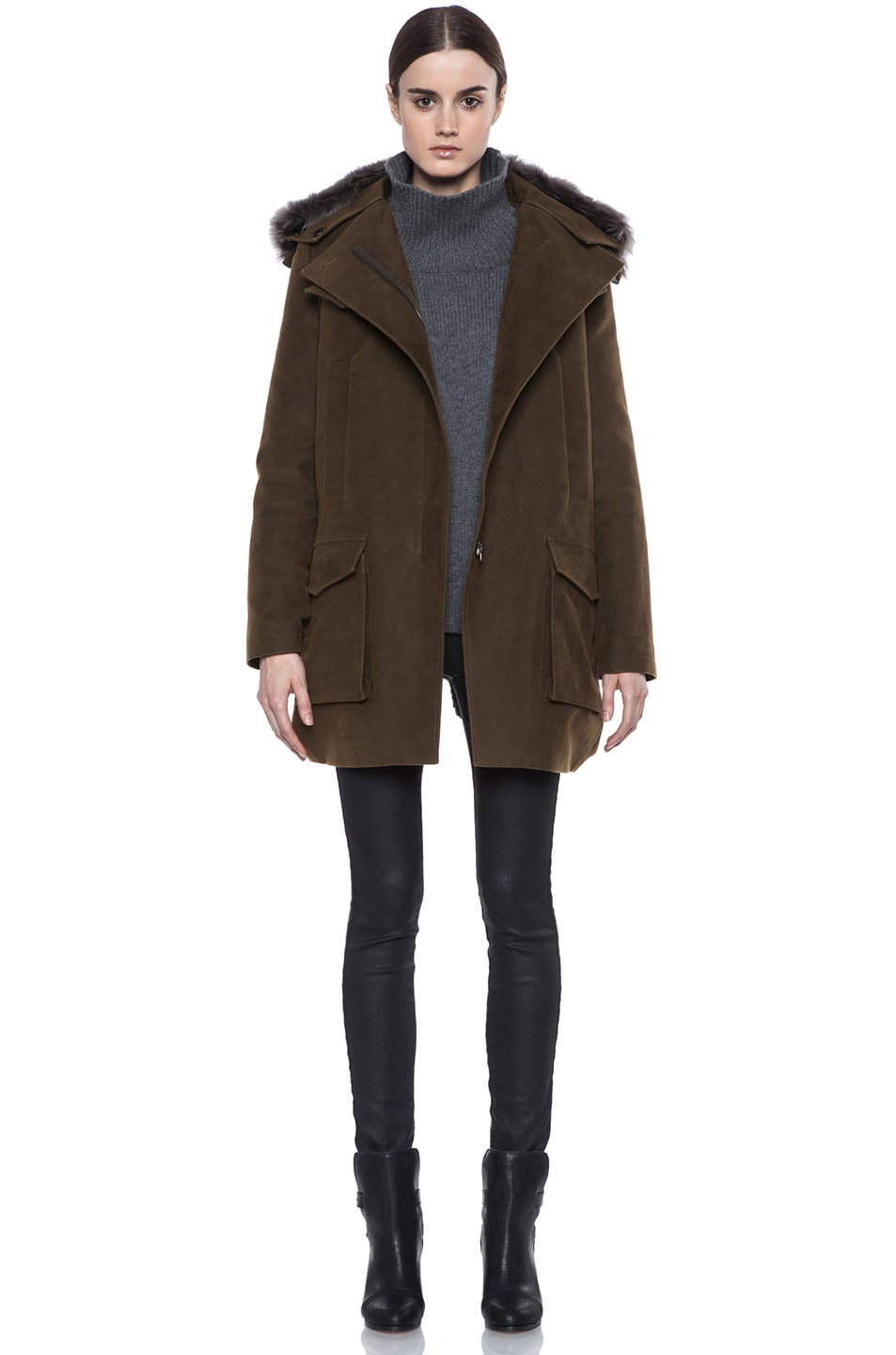 Image 1 of Vanessa Bruno Cotton Coat with Detachable Fur in Khaki