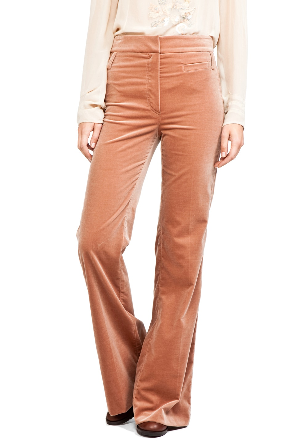 Image 1 of Vanessa Bruno Velour High Waisted Pants in Rose