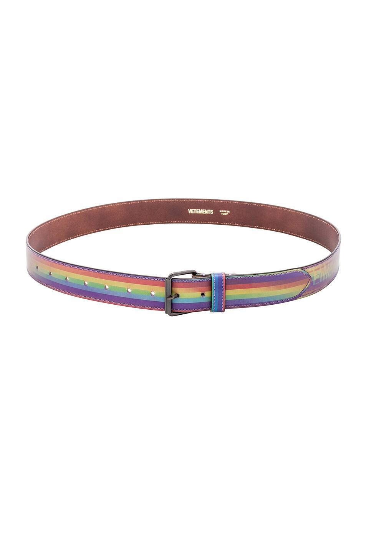 Image 2 of VETEMENTS Hologram Belt in Rainbow