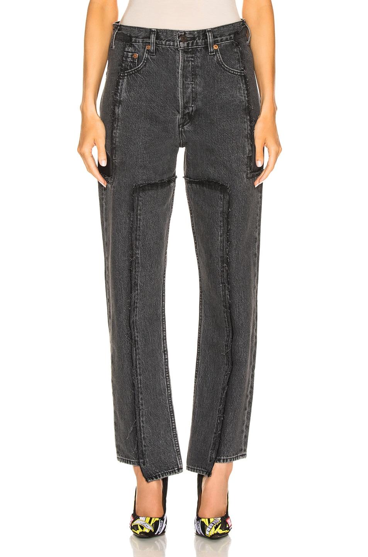 Image 1 of VETEMENTS Frayed Denim Jeans in Black