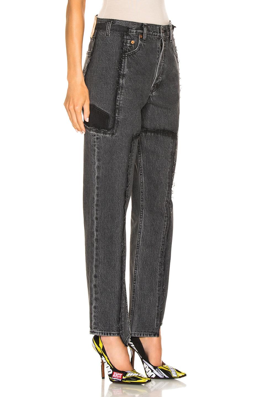 Image 2 of VETEMENTS Frayed Denim Jeans in Black