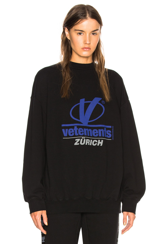 Vetements Zurich Print Crewneck In Black Fwrd