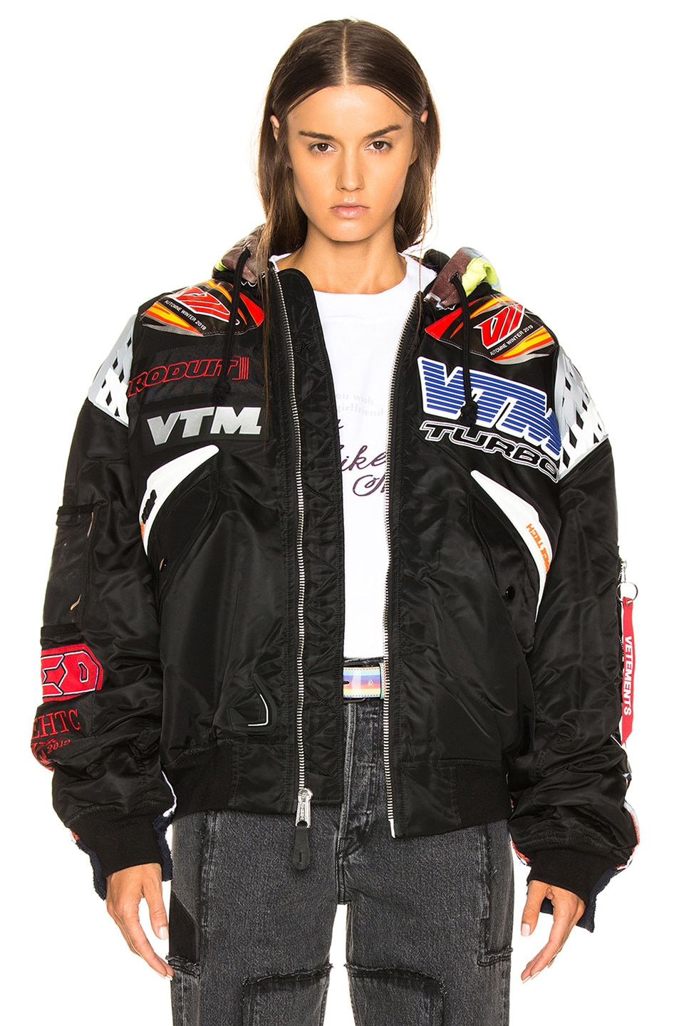 Image 1 of VETEMENTS Oversized Racing Bomber Jacket in Black & Navy