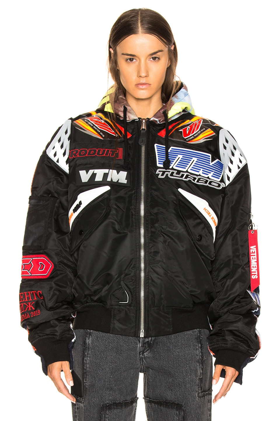 Image 2 of VETEMENTS Oversized Racing Bomber Jacket in Black & Navy