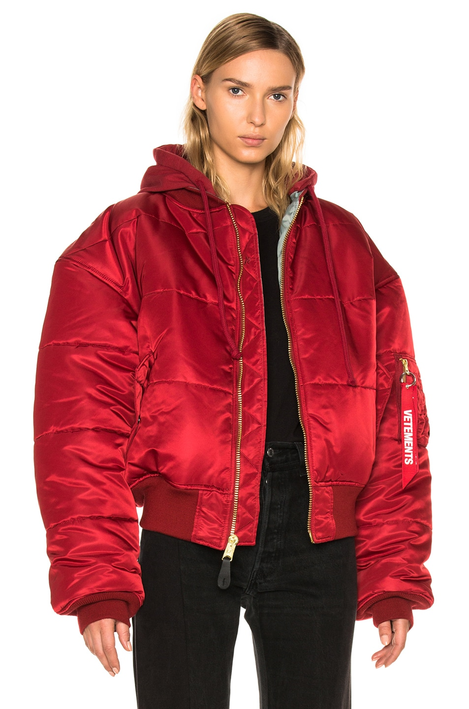 Image 1 of VETEMENTS x Alpha Industries Reversible Bomber Jacket in Red & Silver
