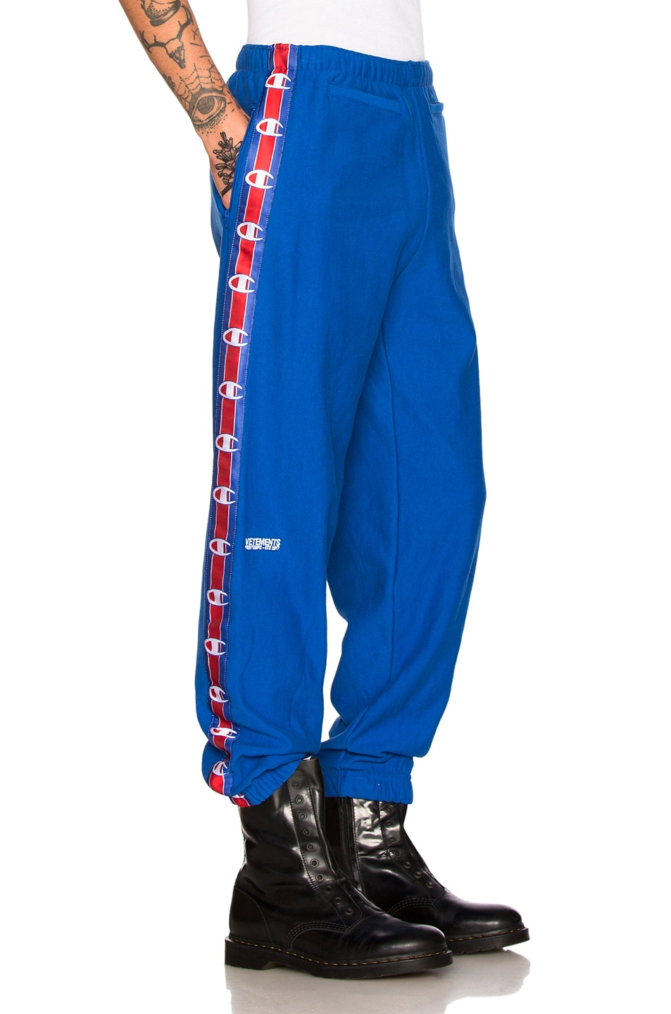 Image 3 of VETEMENTS x Champion Tape Track Pants in Blue
