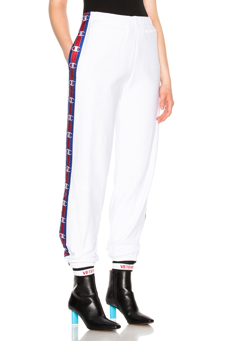 8b805ed3 Image 1 of VETEMENTS x Champion Tape Track Pants in White