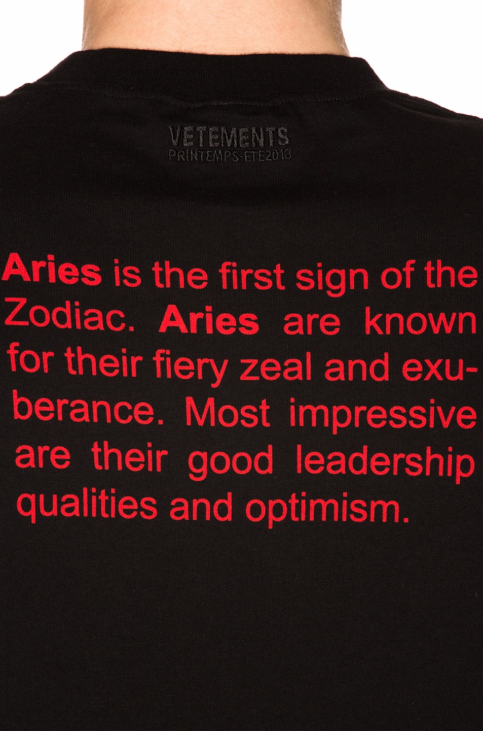 VETEMENTS Aries Horoscope Tee in Black | FWRD