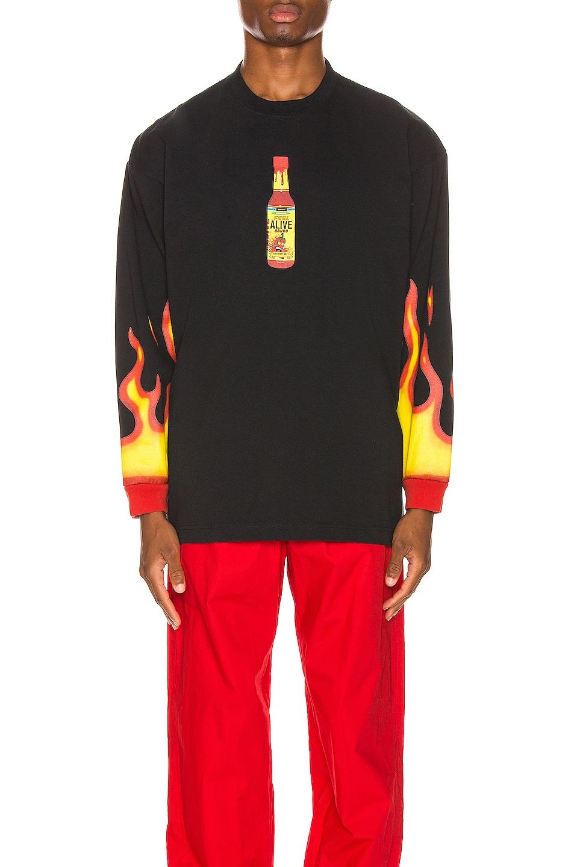 Image 2 of VETEMENTS Hot Sauce Long Sleeve Tee in Black
