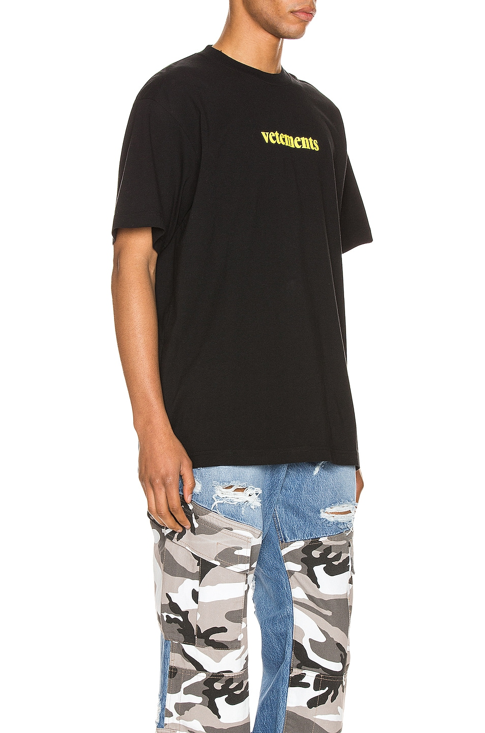 Image 2 of VETEMENTS Logo Tee in Black & Yellow