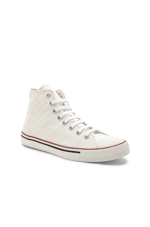 07e3022205b891 Image 1 of VETEMENTS Canvas Print Emoji Sneakers in White