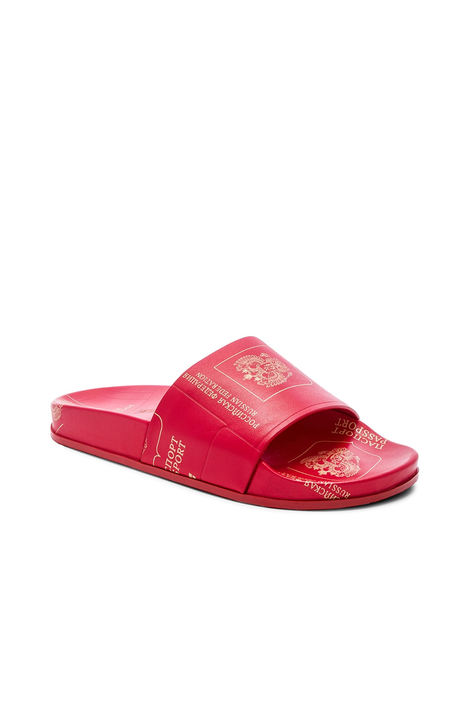 Image 1 of VETEMENTS Leather Passport Slides in Red